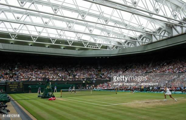 Garbine Muguruza of Spain in action during her victory over Venus Williams of United States in their Ladies' Singles Final at Wimbledon on July 15...