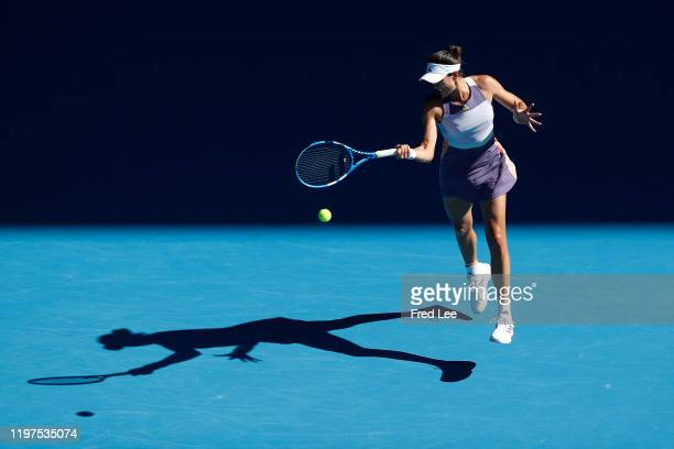 Garbine Muguruza of Spain in action during in her Women's Singles Semifinal match against Simona Halep of Romania on day eleven of the 2020...