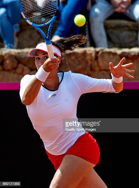 Garbine Muguruza of Spain in action during the match against Veronica Cepede of Paraguay during day two of the Fed Cup by BNP Paribas World Cup Group...