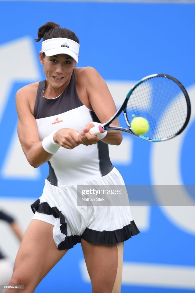 Garbine Muguruza of Spain in action during the semi final match against Ashleigh Barty of Australia on day six of The Aegon Classic Birmingham at Edgbaston Priory Club on June 24, 2017 in Birmingham, England.