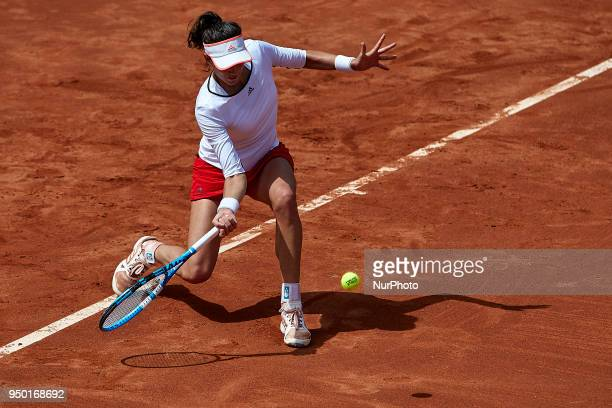 Garbine Muguruza of Spain in action in her match against Veronica Cepede Royg of Paraguay during day two of the Fedcup World Group II Playoffs match...