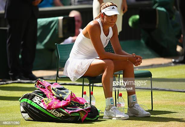 Garbine Muguruza of Spain looks dejected after the Final Of The Ladies' Singles against Serena Williams of the United States during day twelve of the...
