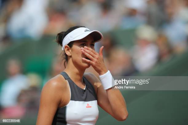 Garbine Muguruza of Spain looks dejected during the day 8 of the French Open at Roland Garros on June 4 2017 in Paris France