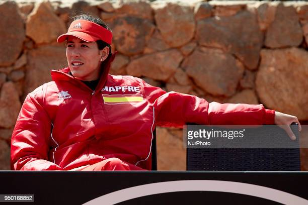 Garbine Muguruza of Spain looks on during day two of the Fedcup World Group II Playoffs match between Spain and Paraguay at Centro de Tenis La Manga...