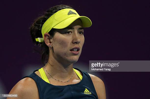 Garbine Muguruza of Spain looks on in her Final singles match against Petra Kvitova of The Czech Republic during Day Six of the Qatar Total Open 2021...