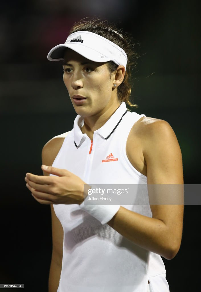 Garbine Muguruza of Spain looks on in her match against Christina McHale of USA at Crandon Park Tennis Center on March 23, 2017 in Key Biscayne, Florida.