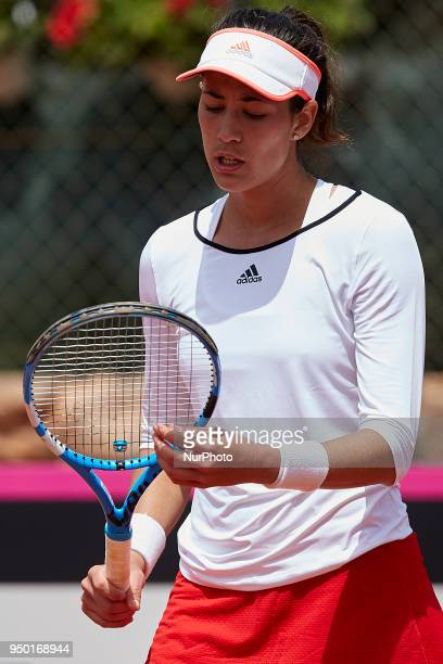 Garbine Muguruza of Spain looks on in her match against Veronica Cepede Royg of Paraguay during day two of the Fedcup World Group II Playoffs match...