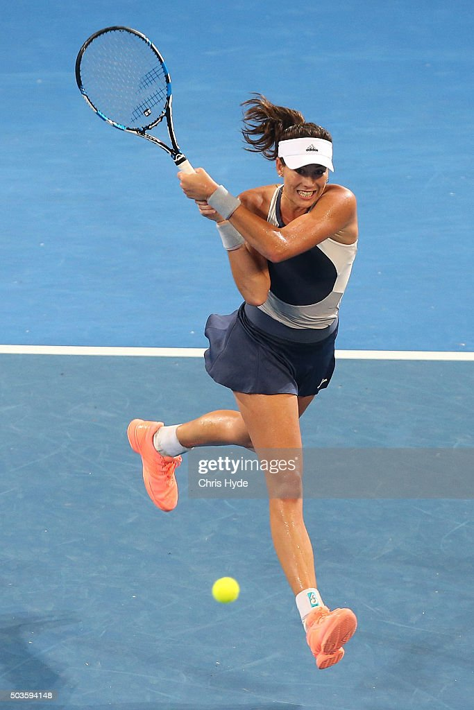 Garbine Muguruza of Spain plays a backhand in her match against Varvara Lepchenko of the USA during day four of the 2016 Brisbane International at Pat Rafter Arena on January 6, 2016 in Brisbane, Australia.