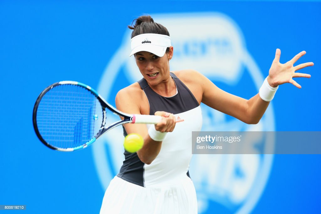 Garbine Muguruza of Spain plays a backhand shot during her semi final match against Ashleigh Barty day six of the Aegon Classic Birmingham at Edgbaston Priory Club on June 24, 2017 in Birmingham, England.