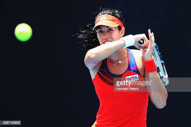Garbine Muguruza of Spain plays a forehand against Christina McHale of the USA during day one of the ASB Classic at ASB Tennis Centre on December 30,...