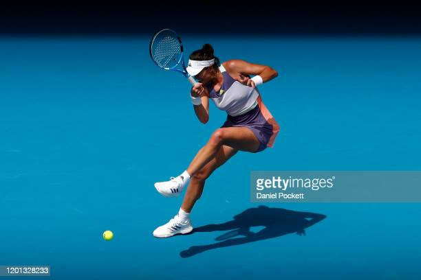 Garbine Muguruza of Spain plays a forehand during her Women's Singles second round match against Ajla Tomljanovic of Australia on day four of the...