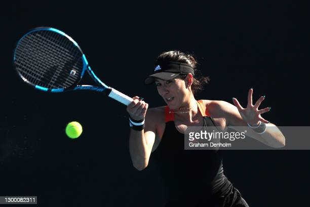 Garbine Muguruza of Spain plays a forehand in her match against Anastasia Pavlyuchenkova of Russia during day four of the WTA 500 Yarra Valley...