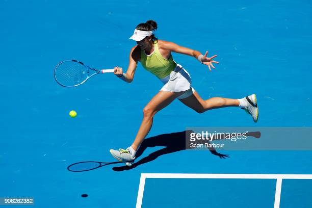 Garbine Muguruza of Spain plays a forehand in her second round match against SuWei Shieh of China on day four of the 2018 Australian Open at...