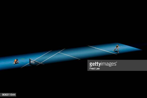 Garbine Muguruza of Spain plays a forehand in her second round match against SuWei Hsieh of Taipei on day four of the 2018 Australian Open at...
