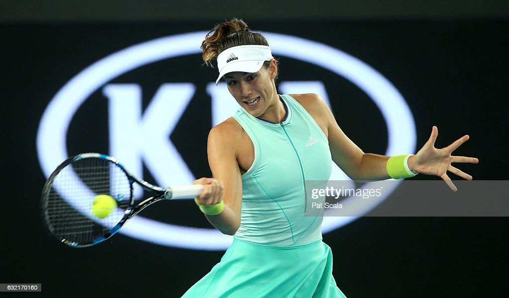 Garbine Muguruza of Spain plays a forehand in her third round match against Anastasija Sevastova of Latvia on day five of the 2017 Australian Open at Melbourne Park on January 20, 2017 in Melbourne, Australia.