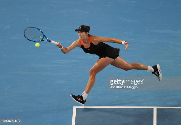 Garbine Muguruza of Spain plays a forehand in her Women's SinglesFinal match against Ashleigh Barty of Australia during day eight of the WTA 500...