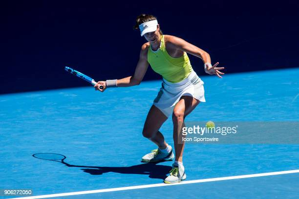 Garbine Muguruza of Spain plays a shot in her second round match during the 2018 Australian Open on January 18 at Melbourne Park Tennis Centre in...