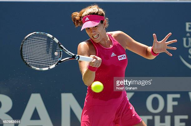 Garbine Muguruza of Spain plays against Daniela Hantuchova of Slovakia during Day 4 of the Bank of the West Classic at the Taube Family Tennis...