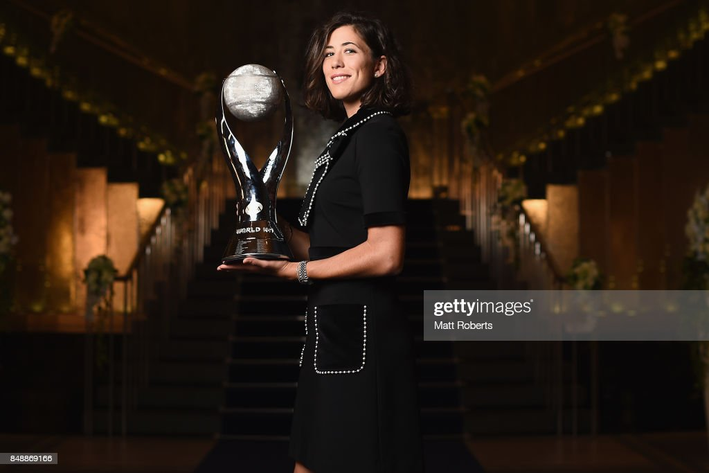 Garbine Muguruza of Spain poses for a portrait prior to attending the players' party during day one of the Toray Pan Pacific Open Tennis at Grand Nikko Hotel on September 18, 2017 in Tokyo, Japan.