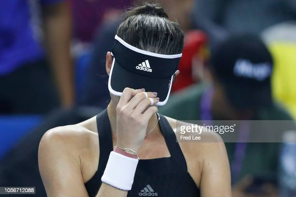 Garbine Muguruza of Spain reacts during her match against Qiang Wang of China in their women's singles Semi final match on day 5 of the 2018 WTA...
