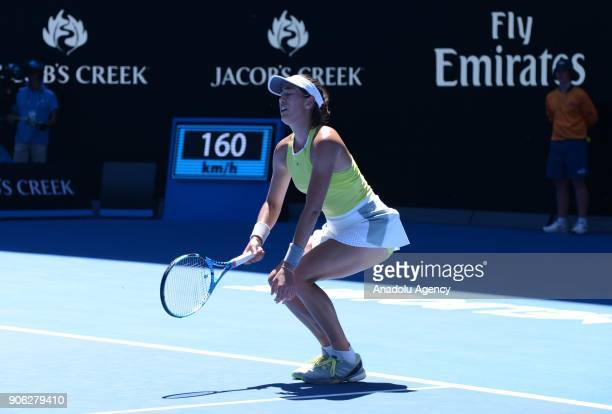 Garbine Muguruza of Spain reacts during the fourth day of 2018 Australia Open tennis match against SuWei Hsieh of Taiwan at Melbourne Park in...