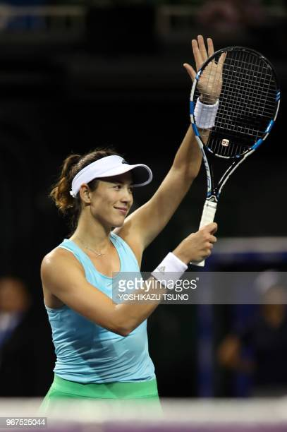 Garbine Muguruza of Spain reacts to audience during the second round of the Toray Pan Pacific Open tennis championships in Tokyo on September 22 2016...