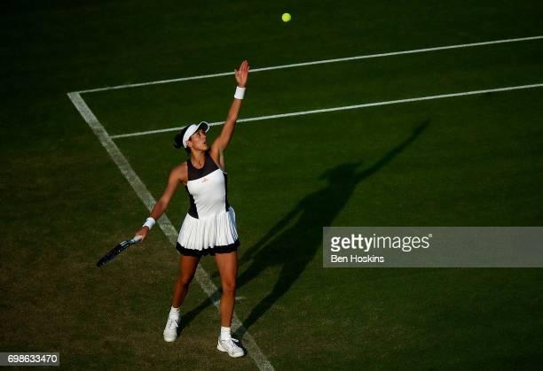 Garbine Muguruza of Spain serves during her first round match against Elizaveta Kulichkova of Russia on day two of The Aegon Classic Birmingham at...