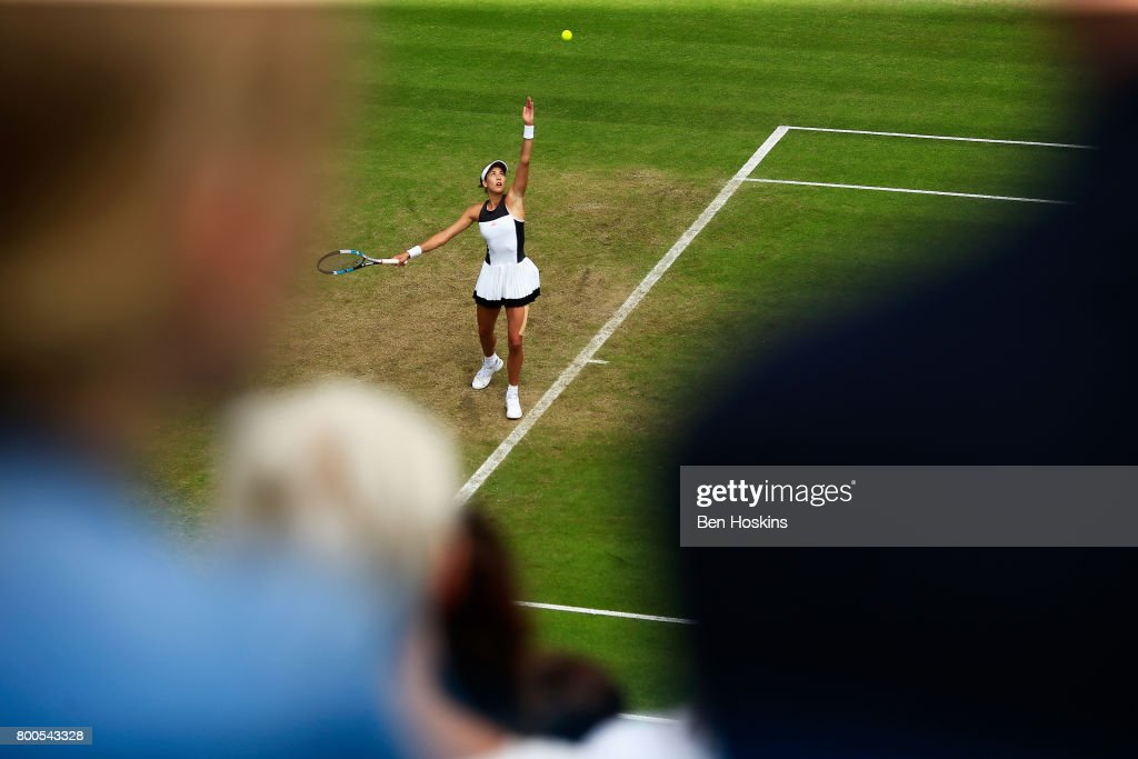 Garbine Muguruza of Spain serves during her semi final match against Ashleigh Barty day six of the Aegon Classic Birmingham at Edgbaston Priory Club on June 24, 2017 in Birmingham, England.