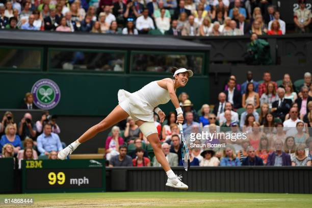 Garbine Muguruza of Spain serves during the Ladies Singles final against Venus Williams of The United States on day twelve of the Wimbledon Lawn...