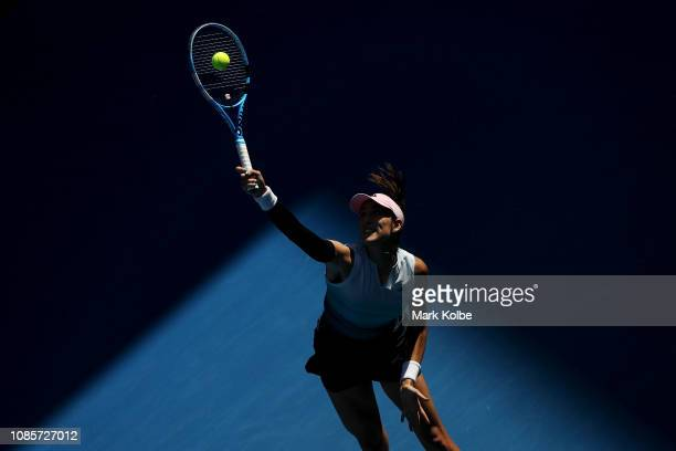 Garbine Muguruza of Spain serves in her fourth round match against Karolina Pliskova of Czech Republic during day eight of the 2019 Australian Open...