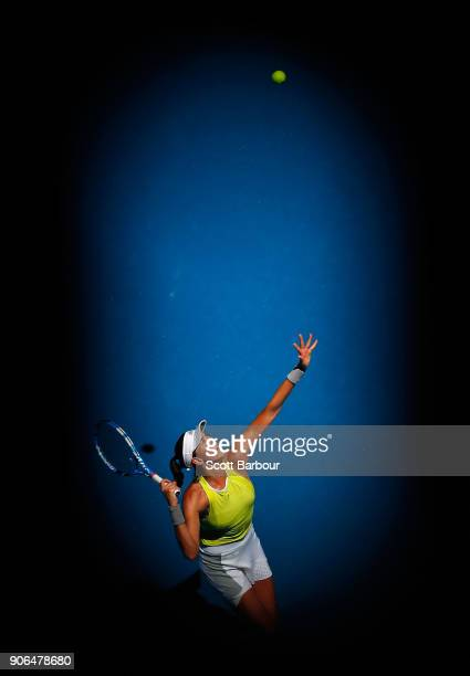 Garbine Muguruza of Spain serves in her second round match against SuWei Hsieh of Taipei on day four of the 2018 Australian Open at Melbourne Park on...