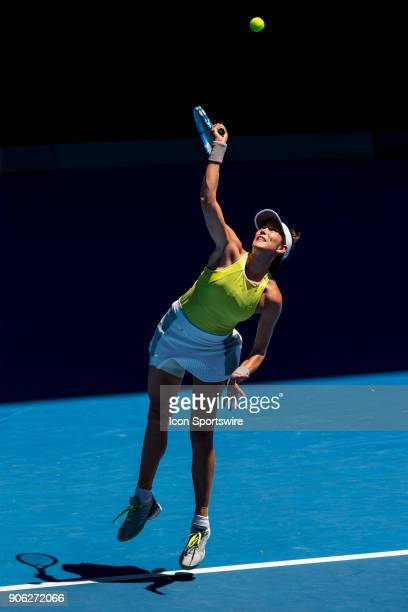 Garbine Muguruza of Spain serves in her second round match during the 2018 Australian Open on January 18 at Melbourne Park Tennis Centre in Melbourne...