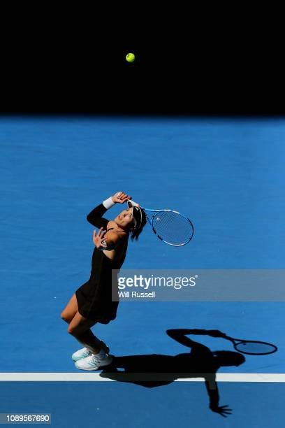Garbine Muguruza of Spain serves to Alize Cornet of France in the women's singles match during day seven of the 2019 Hopman Cup at Perth Arena on...