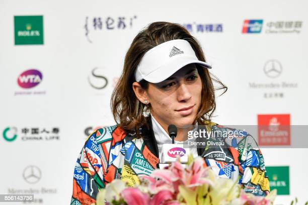 Garbine Muguruza of Spain speaks during a press conference on day two of the 2017 China Open at the China National Tennis Centre on October 1, 2017...