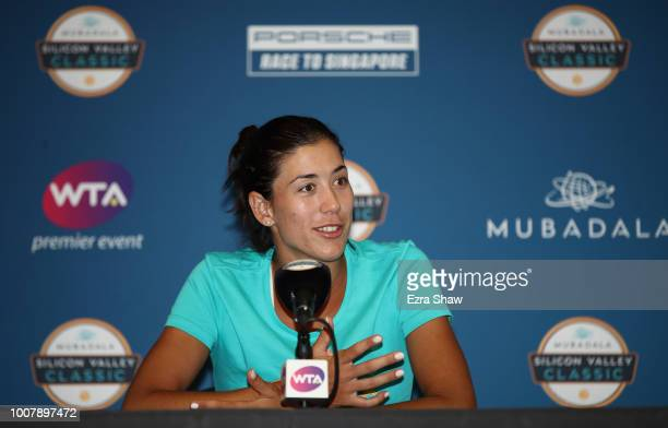 Garbine Muguruza of Spain speaks to the media during Day 1 of the Mubadala Silicon Valley Classic at Spartan Tennis Complex on July 30 2018 in San...