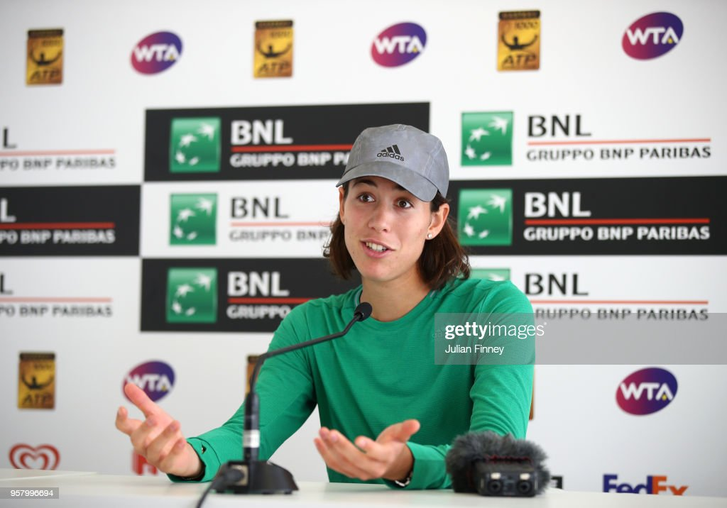 Garbine Muguruza of Spain talks to the media during day one of the Internazionali BNL d'Italia 2018 tennis at Foro Italico on May 13, 2018 in Rome, Italy.