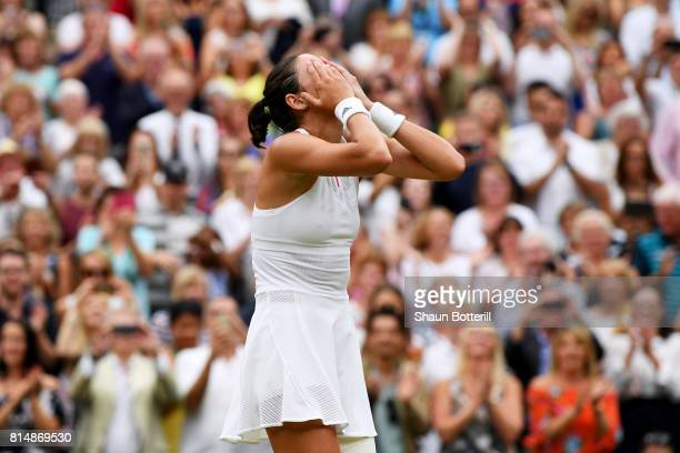 Garbine Muguruza of Spain victory after the Ladies Singles final against Venus Williams of The United States on day twelve of the Wimbledon Lawn...