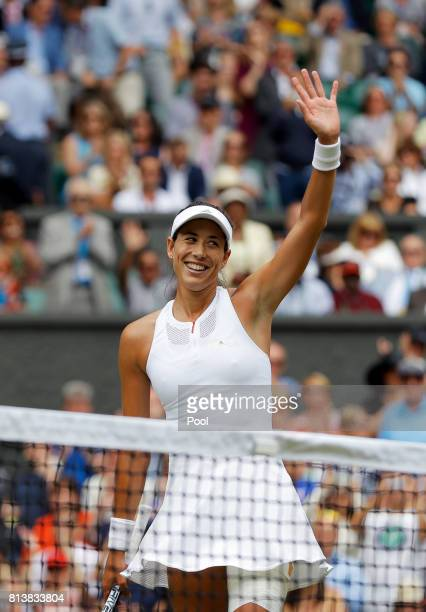 Garbine Muguruza of Spain victory after the Ladies Singles semi final match against Magdalena Rybarikova of Slovakia on day ten of the Wimbledon Lawn...