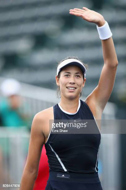 Garbine Muguruza of Spain waves to the crowd after beating Ana Konjuh of Croatia in their quarterfinal match on Day 5 of the Bank of the West Classic...