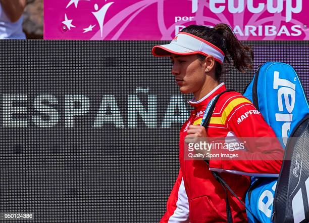 Garbine Muguruza os Spain prepares forthe match against Veronica Cepede of Paraguay during day two of the Fed Cup by BNP Paribas World Cup Group II...