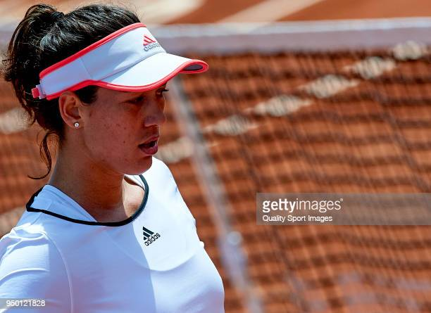 Garbine Muguruza rests during the match against Veronica Cepede of Paraguay during day two of the Fed Cup by BNP Paribas World Cup Group II match...