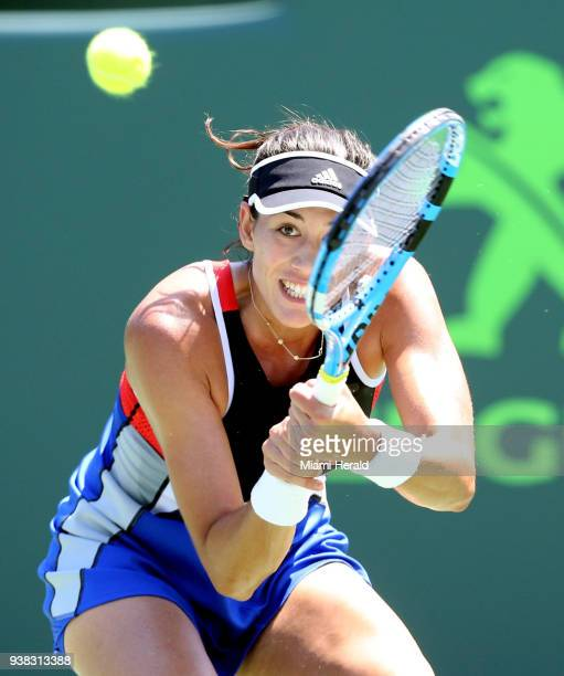 Garbine Muguruza returns a ball hit by Sloane Stephens at the Miami Open on Monday March 26 2018 on Key Biscayne Fla