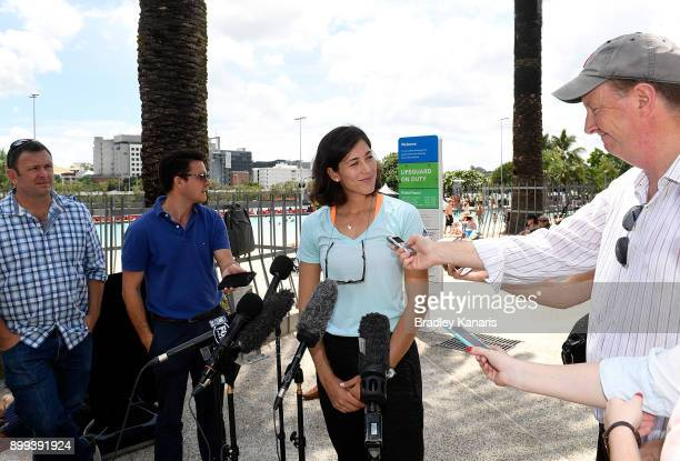 Garbine Muguruza speaks at a press conference after walking along Streets Beach at Southbank ahead of the 2018 Brisbane International on December 29...