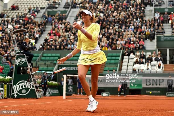 Garbine Muguruzu of Spain ccelebrates victory during the Ladies Singles semi final match against Samantha Stosur of Australia on day thirteen of the...