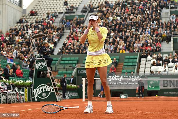 Garbine Muguruzu of Spain celebrates victory during the Ladies Singles semi final match against Samantha Stosur of Australia on day thirteen of the...