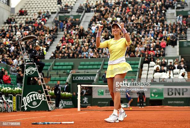 Garbine Muguruzu of Spain celebrates victory during the Ladies Singles semi final match against Samantha Stosur of Australia on day thirteen of the...