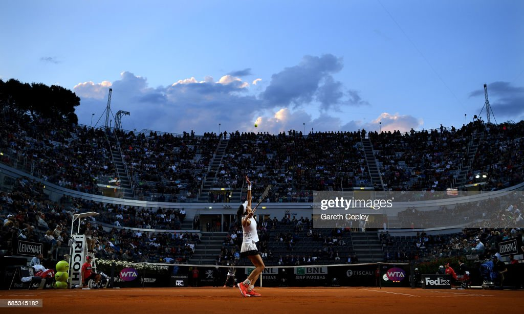 Garbine Mugurza of Spain serves during her quarter match against Venus Williams of USA in The Internazionali BNL d'Italia 2017 at Foro Italico on May 19, 2017 in Rome, Italy.