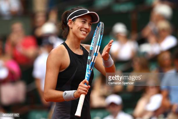 Garbine Murguruza of Spain celebrates victory during her ladies singles third round match agaisnt Samantha Stosur of Australia during day seven of...
