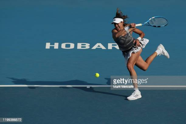 Garbine Murguruza of Spain plays a forehand during her first round singles match against Wang Yafan of China during day four of the 2020 Hobart...
