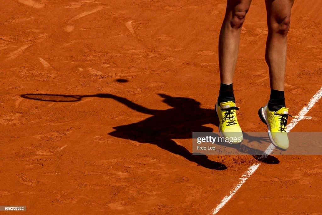 Garbine Murguruza of Spain serves during the ladies' singles semi-final match against Simona Halep of Romania during day twelve of the 2018 French Open at Roland Garros on June 7, 2018 in Paris, France.
